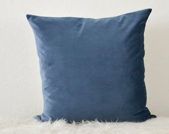 Decorative Pillow, Blue Velvet Pillow Cover, Azure Blue Velvet Pillow