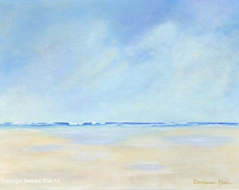 "Original Seascape Beach Painting ""Low Tide"", Ocean Waves, Peaceful, Serene, 12x16 on Canvas"