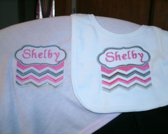Chevron Personalized Infant Toddler Baby Blanket & Bib Set  Any color Boy or Girl