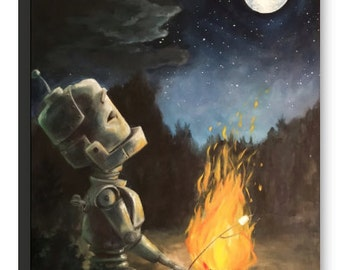 CAMPFIRE robot painting print