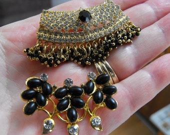 Tikka Head Ornament Components, Vintage Kundan Black And Rhinestone Pav'e