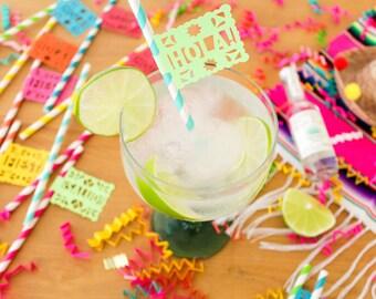 Mexican Fiesta Paper Straws (12), Fiesta Decorations, Cinco de Mayo Party, Papel Picado, Fiesta Birthday, Mexican Wedding Decorations, Hola