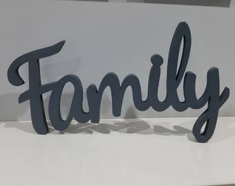 Wooden Letter Family Wall Sign Home Decor Wood Letters Wooden Script Word Wood Letter Sign