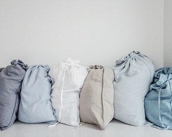 Large washed linen laundry bag