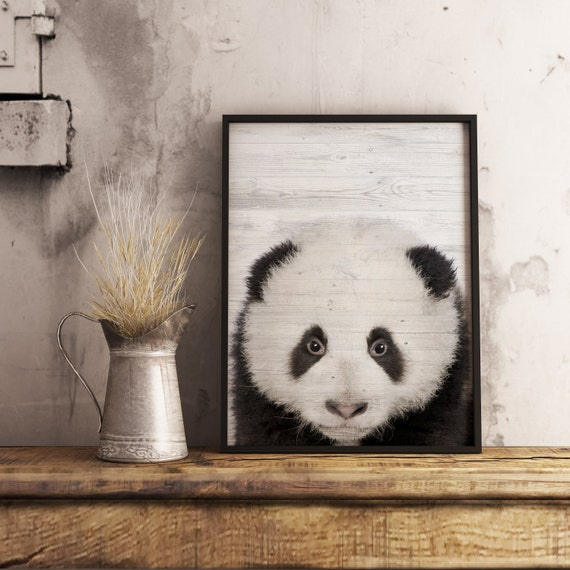 Panda print nursery wall art decor panda bear by for Panda bear decor