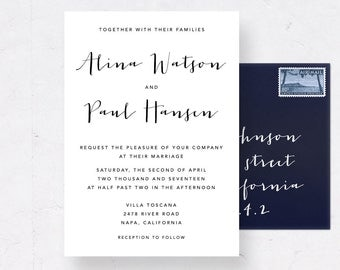 Wedding Invitation Suite, Printable Wedding Invite Set, Calligraphy Wedding Suite, Printable Invitation Suite, Wedding Invitation Cards