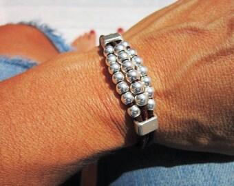 sterling silver, womens bracelets, leather Bracelets, beaded Bracelets, silver bracelets, boho bracelet, bead bracelet, Bohemian jewelry