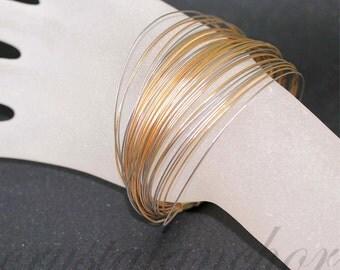 18k Yellow & White Multi strand Flexible Modern Cable Bangle Bracelet 28.7 VIDEO