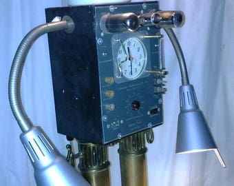steampunk robot clock lamp