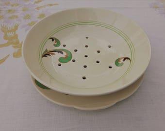 "Art Deco Royal Doulton ""Lynn"" Vegetable Drainer & Underplate - Green Version"