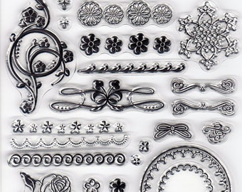 Floral Swirl CLEAR STAMP SHEET for Card Making Scrapbooking Embellishment Decor