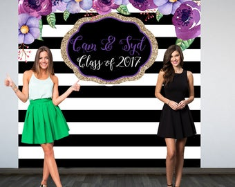 Graduation Personalized Photo Backdrop, Black and White Stripes Photo Backdrop, Birthday Photo Backdrop, Photo Booth Backdrop, Purple Floral