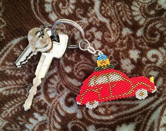 Punch buggy car-beaded keychain-red