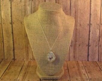 Druzy Slice Pendant Necklace
