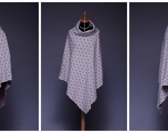 long Poncho with shawl collar