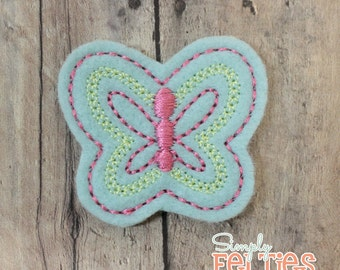 Butterfly Felties-Mint, Pink and Yellow--Set of 4