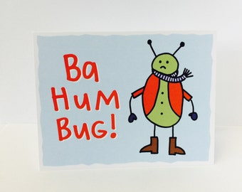 """Bah Hum Bug Card, A2 size (4.25"""" x 5.5"""") by Tiny Gang Designs. Funny Christmas Card. Funny Holiday Card. Bah Hum Bug Card. Scrooge Card"""