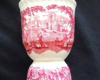 MASON'S, Vista, Red Transferware, Double Egg Cup, Coddler, Vintage, Ironstone, Castle, Leaves