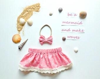 Mermaid scallop skirt, baby girl skirt, girl summer skirt, baby girl pink skirt, scallop skirt, baby shower gift