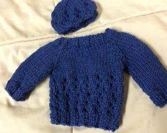 "18"" doll sweater and hat"
