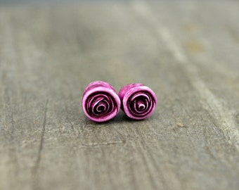 Baby Roses in Pink - Set of Two, miniature polymer clay rose beads