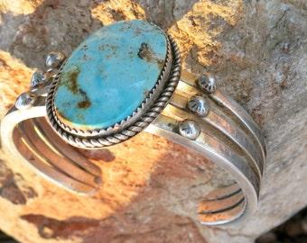 Spectacular Natural Turquoise & Heavy Navajo Bracelet, 52 Grams, Vintage