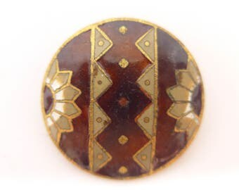 Antique Paris Backed French Champleve Daisy Enamel Button - Unusual Geometric Design