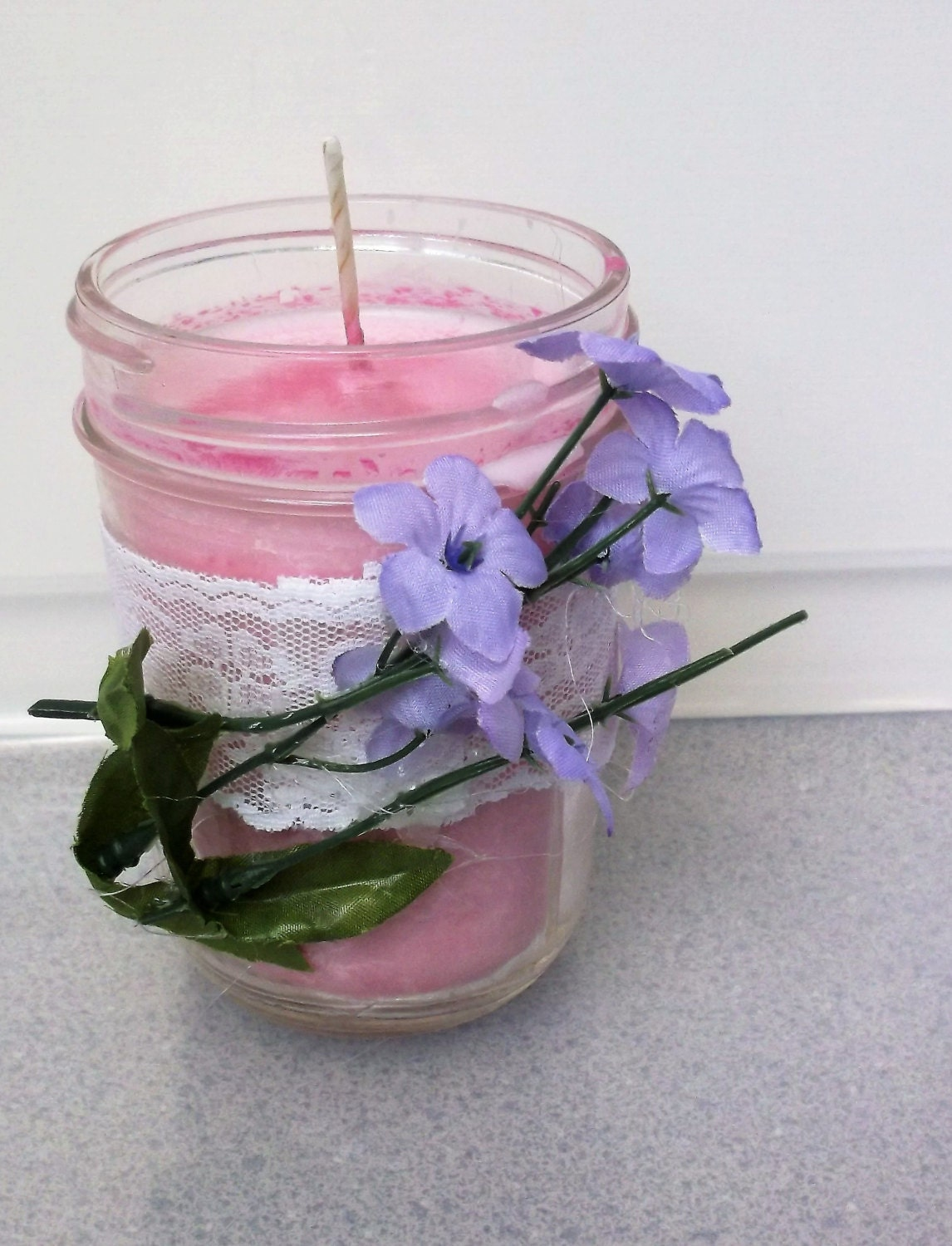 Soy Candle In A 4 High Mason Jar Scented With Jasmine A Lace Band