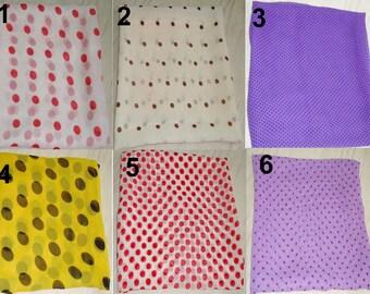 Polka dot bandana /small square scarves /indian georgette bandana /hair scarf /neck scarf