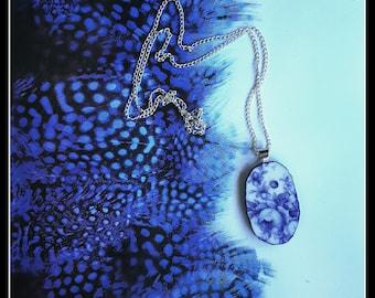 Handmade broken china OOAK blue and white oval rose pendant