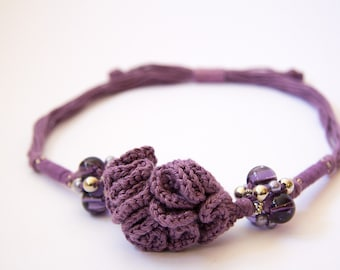 Purple Bouquet necklace-Valentine-crocheted cotton with resin, silk, silver and glass