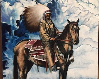 Oil Painting Native American Chief Warrior on Horseback Clouds