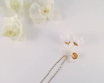 Hair pin, floral hair pin, flower hair pin, bridal hair pin, bridal headpiece, headpiece, flower headpiece, hair jewelry, hair jewellery