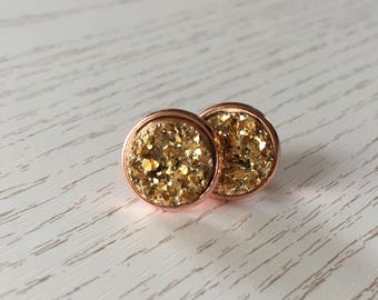 Gold Stud Earrings in Rosé gold or Silver Star dust