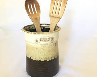 Vintage Stoneware Utensil Holder