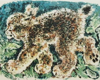 Young Lynx - Artist E. Charushin - Vintage Soviet Postcard, 1979. Sovetskiy hudozhnik. Print