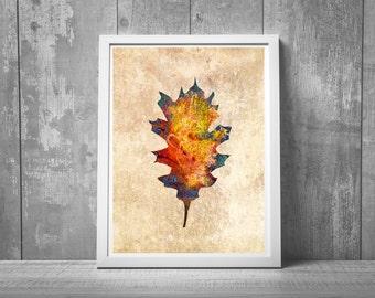 boho decor, nature art, giclee print, rustic decor, natural decor, nature painting, leaf art, canada art, nature art, leaf painting