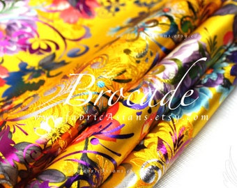 Yellow Brocade Floral Gold Fabric - achat tissu asiatique