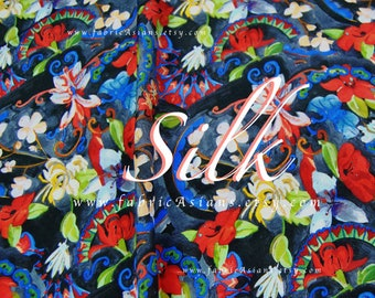 Paisley Blue Silk Crepe Fabric