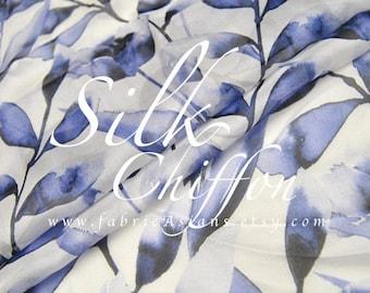 Blue Leaves Blue Silk Chiffon