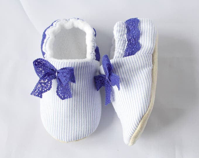 Blue and white pin stripe mocc with lace detail. pre walker, toddler shoe
