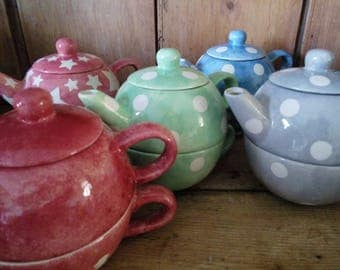 Tea For One - Handmade Ceramic Tea Pot and Cup Stackable Set