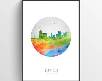 Winnipeg Poster, Winnipeg Skyline, Winnipeg Cityscape, Winnipeg Print, Winnipeg Art, Winnipeg Decor, Home Decor, Gift Idea, CAMBWI20P