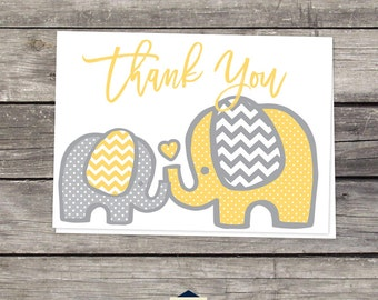 Yellow Elephant Thank You Cards - Baby Shower Thank You Cards - 4x6 - Instant Download and Print Yourself Baby-104