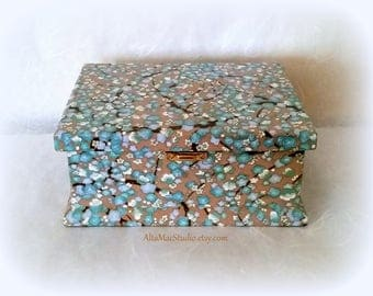 Decorative Box OOAK, Japanese Cherry Blossoms in Blue & White on a Tan Background with Gold Metallic Accents, Handcrafted Heirloom Gift