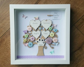 Handmade box framed family tree with butterflies Wedding mothers day birthday new home gift ideas