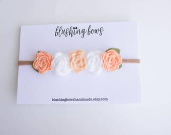 Peach Ombre Flower Crown, Felt Flower Crown, Ombre Flower Crown