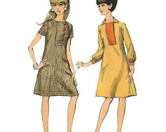 0b32e9a8f Vtg 60s Simplicity 7202 Sewing Pattern Misses A-Line Midi Dress Short or  Elbow Sleeves Optional Collar sz 12 Bust 32