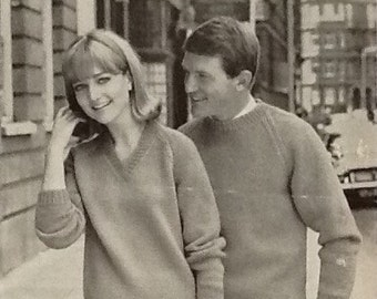 Vintage Knitting Pattern 1960s Men's and Women's Jumpers Pullovers