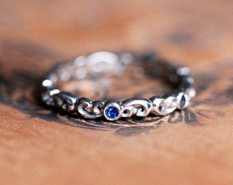 Sapphire eternity band, sapphire eternity ring white gold wedding band, white gold anniversary band for women, white gold stacking rings